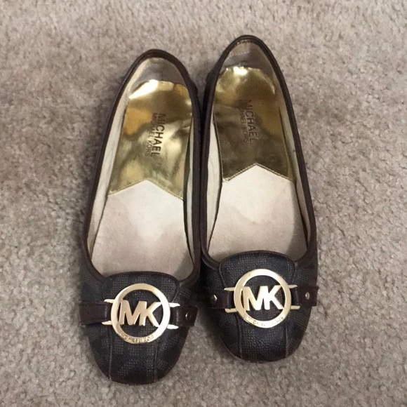 5d5e8edfa5 Michael Kors Shoes | Brown And Gold Mk Flats | Poshmark